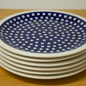 Polish Pottery Dark Blue Spot Dinner Plates Set of 6