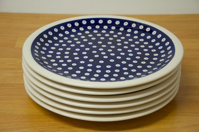 Polish Pottery Dark Blue Spot Dinner Plates Set of 6