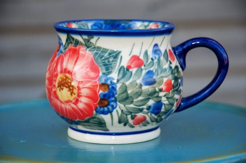 Polish Pottery Large Red Flower Round Mug
