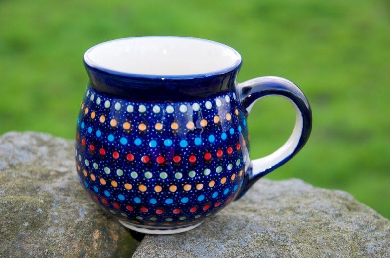Polish Pottery Neon Spot Unikat Round Mug