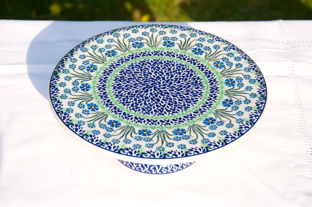 Polish Pottery Forget me not cake stand
