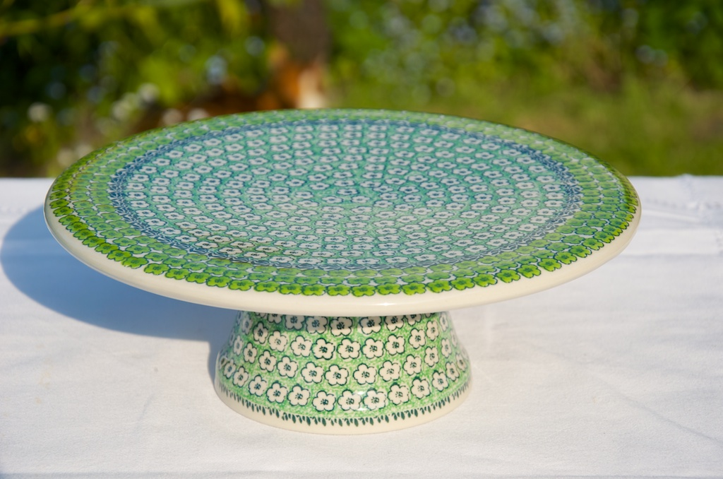 Polish Pottery Green Meadow Cake Stand