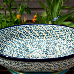 Polish Pottery Blue Berry Leaf Oval Oven Dish