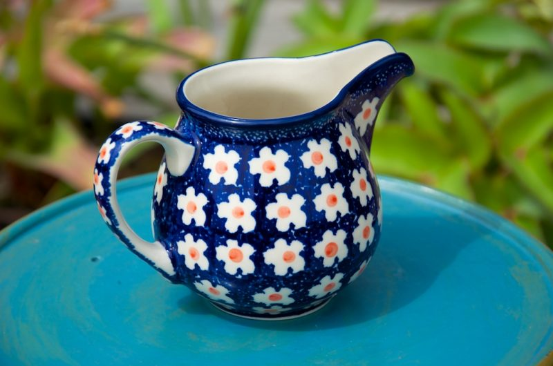 Polish Pottery Orange Flower Spot Large Creamer