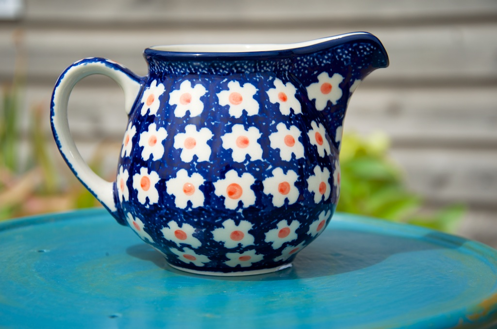 Orange Flower Spot Milk Jug from Polkadot Lane UK