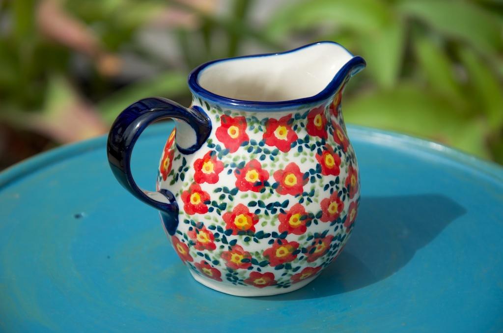 Polish Pottery Ditzy Red Flower Small Milk Jug