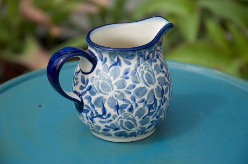 polish pottery manufaktura light blue flower creamer