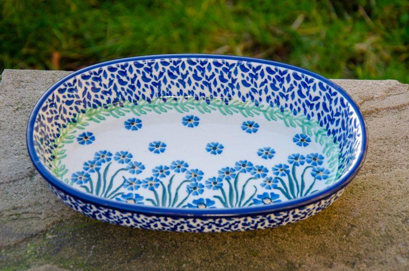 Forget Me Not Oval Dish by Ceramika Artystyczna