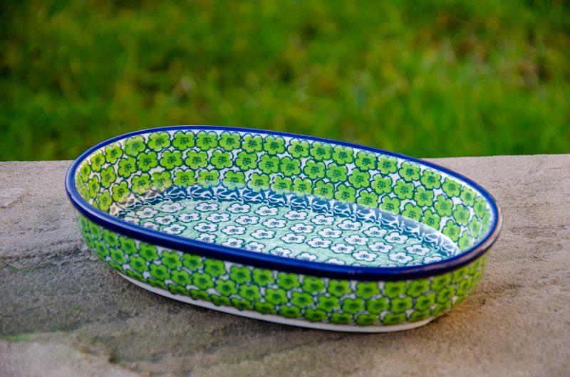 Green Meadow Oval Dish by Ceramika Artystyczna