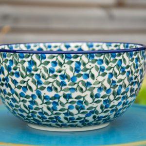 Polish Pottery Blue Berry Leaf Large Cereal Bowl