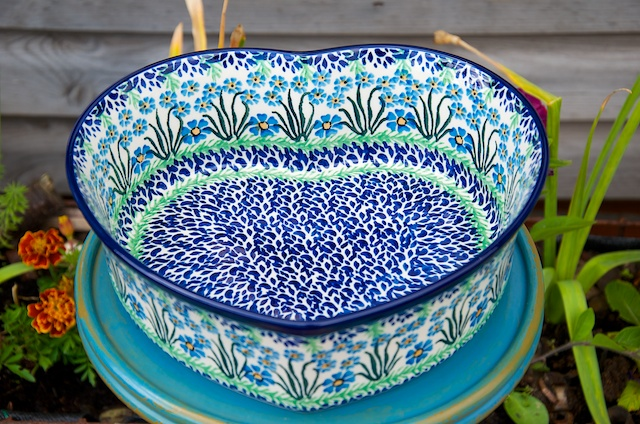 Polish Pottery Forget Me Not Large Heart Dish