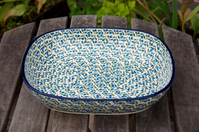 Polish Pottery Blue Berry Leaf large Oven Dish by Ceramika Artystyczna