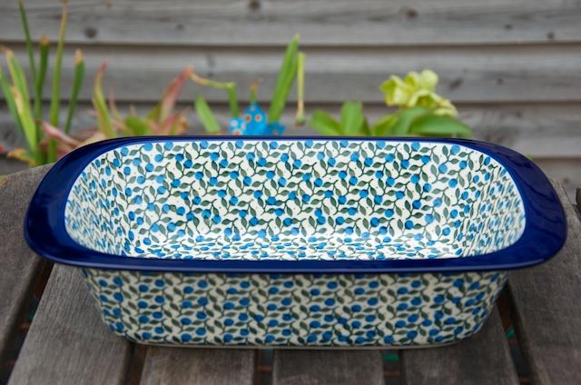Polish Pottery Blue Berry Leaf Large Size Oven Dish by Ceramika Artystyczna