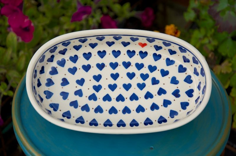 polish pottery small heart oval dish
