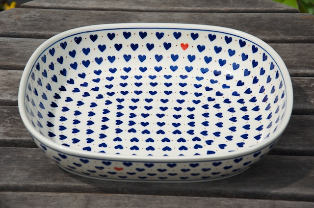 Polish Pottery Small Hearts Pattern Large Oven Dish