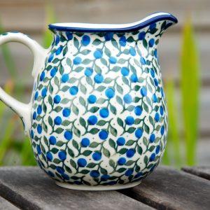 Polish Pottery Blueberry Leaf Small Jug