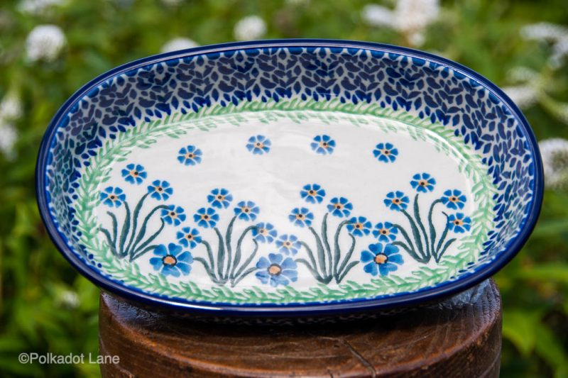 Polish Pottery Forget Me Not Small Serving Dish by Ceramika Artystyczna