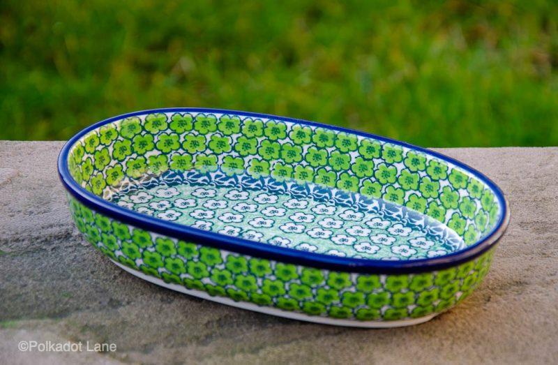 Green Meadow Small Serving Dish by Ceramika Artystyczna