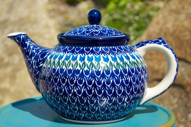 Polish Pottery Blue Tulip Teapot