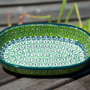 Polish Pottery Green Meadow Oval Dish