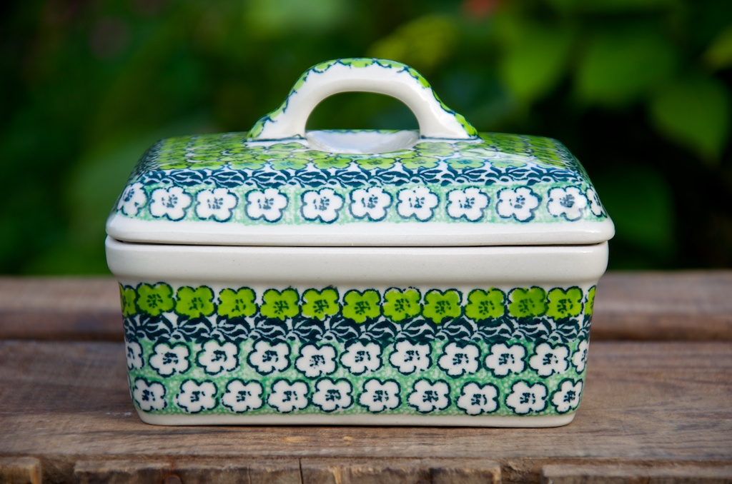 Polish Pottery Green Meadow Butter Box
