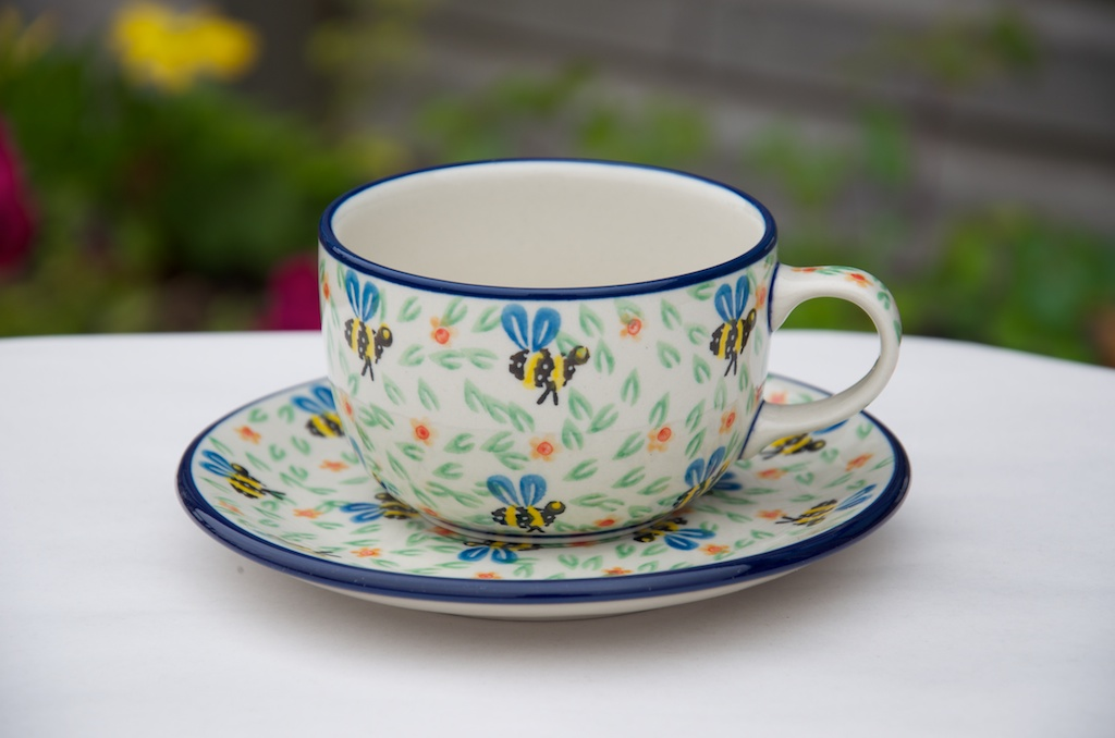 Polish Pottery Bee Pattern Cup Saucer