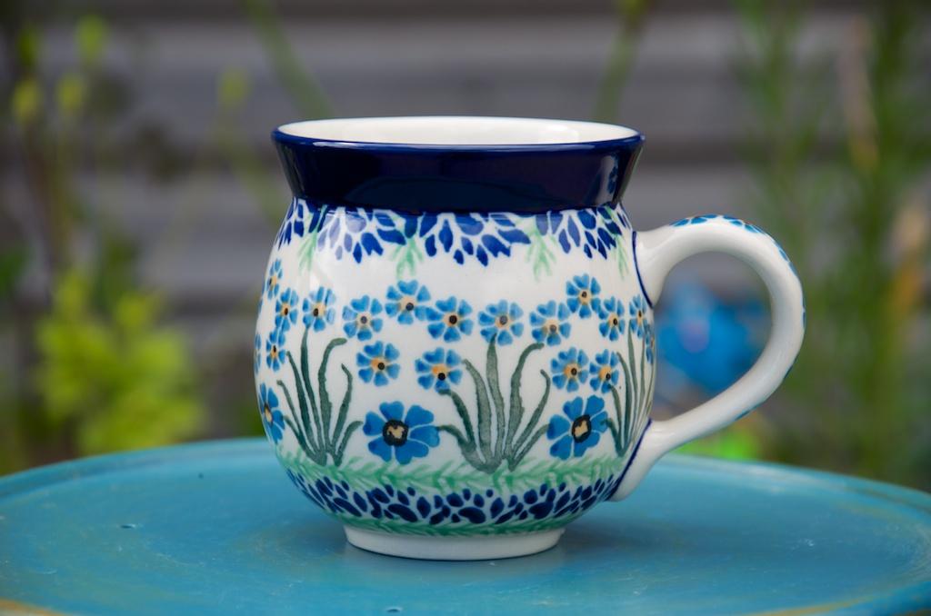 Polish Pottery Forget Me Not Round Mug