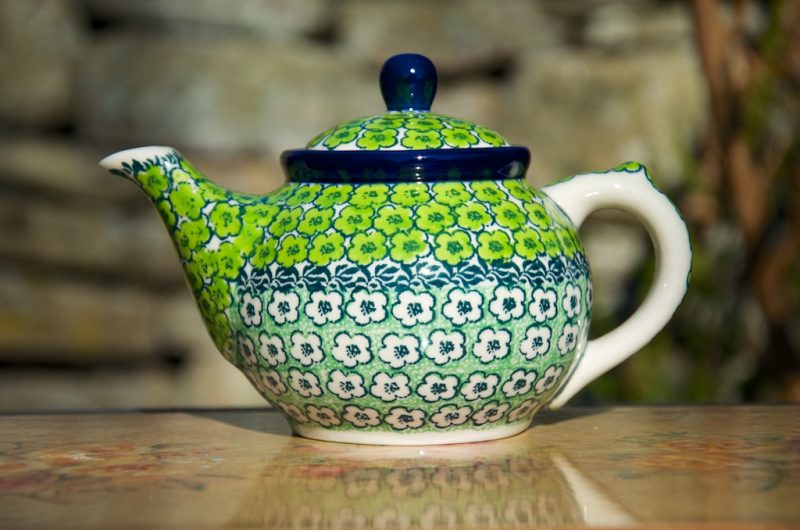 Polish Pottery Green meadow Small teapot