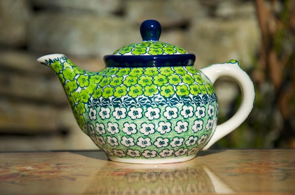 Polish Pottery Green meadow Small teapot