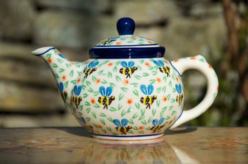 Polish Pottery Bee Pattern Small Teapot