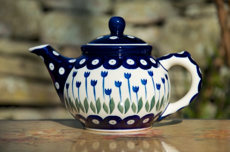 Polish Pottery Flower Spot Small Teapot