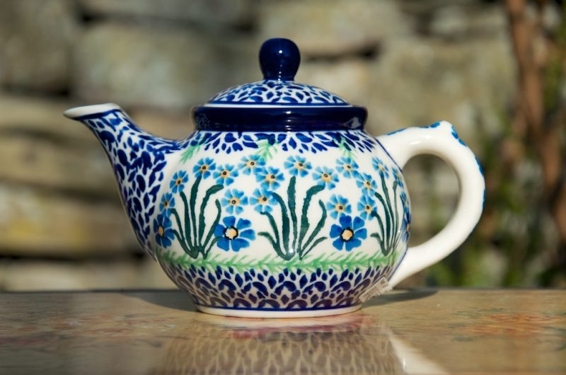 Polish Pottery Forget me Not Small teapot