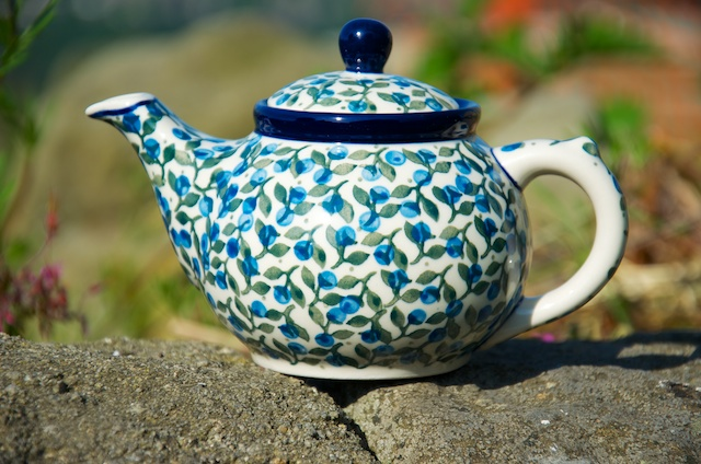 Polish Pottery Blue Berry Leaf Small Teapot