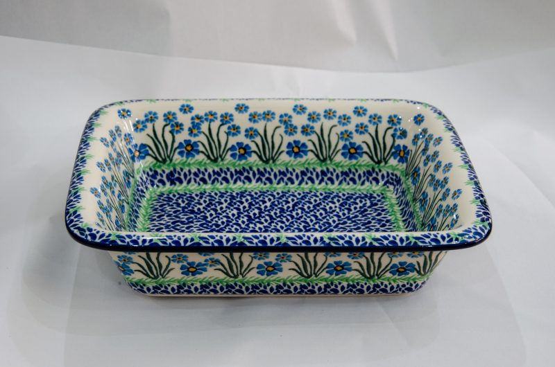 Forget Me Not Oven Dish With Rim by Ceramika Artystyczna