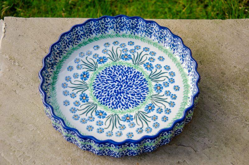Forget Me Not Flan Dish by Ceramika Artystyczna Polish Pottery