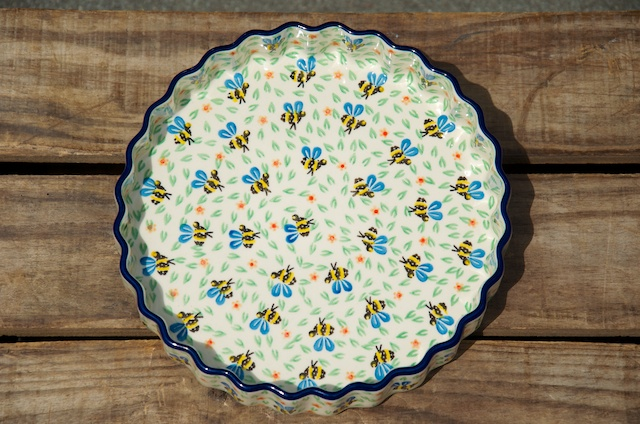 Polish Pottery Bee Flan Dish