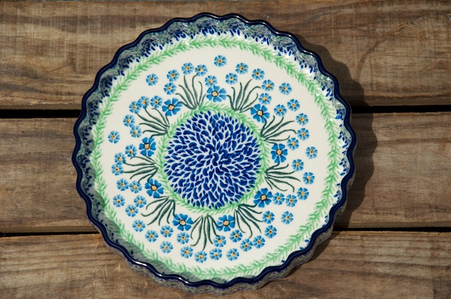 Polish Pottery Forget Me Not Flan Dish