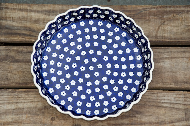 Polish Pottery White Flower Spot Flan Dish