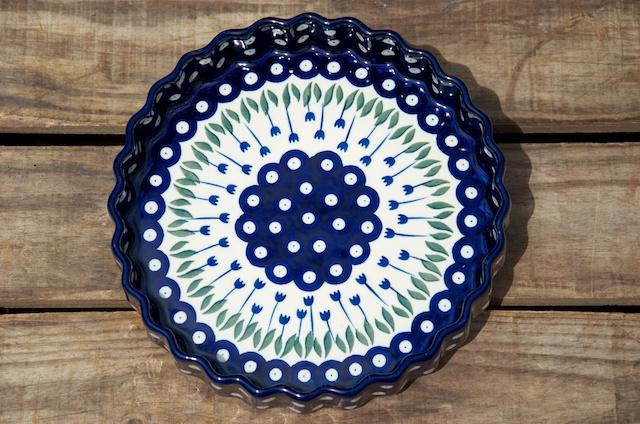 Polish Pottery Flower Spot Flan Dish