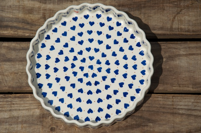 Polish Pottery Small Hearts Flan Dish