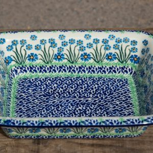 Polish Pottery Forget Me Not Oven Dish