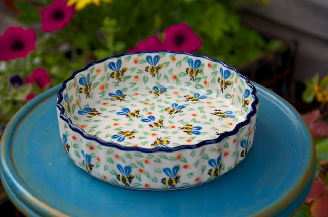 Polish Pottery Bee Flan Dish