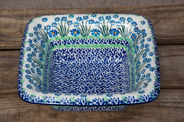 Polish Pottery Forget Me Not Square Dish