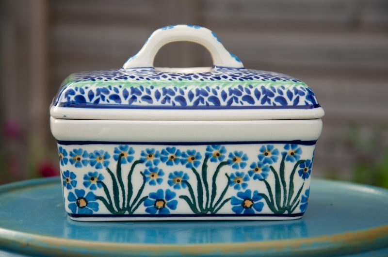 Polish Pottery Forget Me Not Butter Box