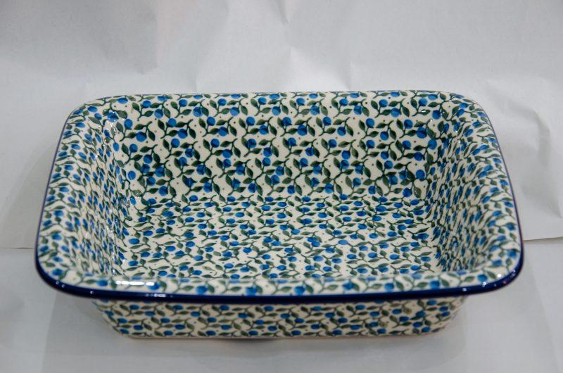 Blue Berry Leaf Oven Dish With Rim by Ceramika Artystyczna