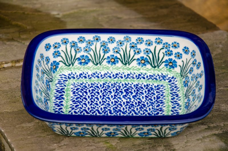 Polish Pottery Forget Me Not Pattern Small Oven Dish