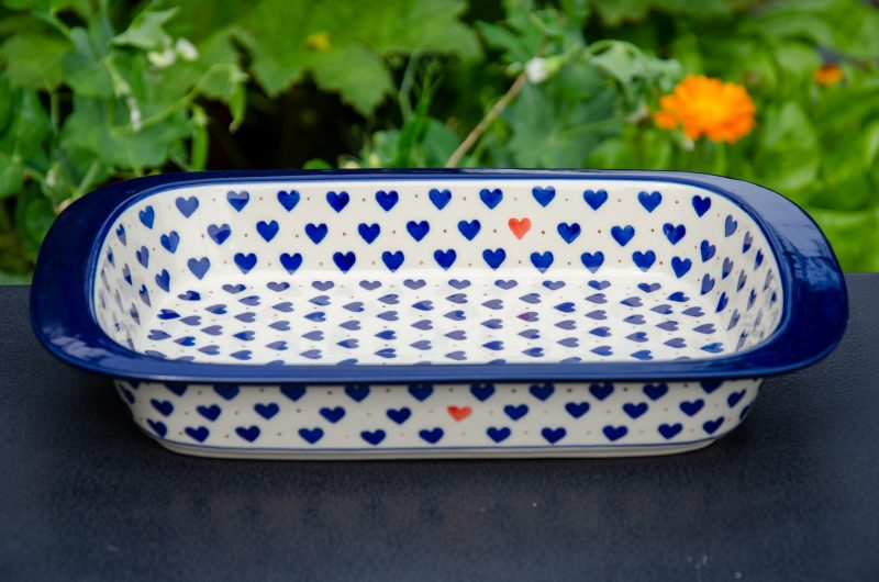 Polish Pottery Blue Hearts Pattern Oven Dish from Polkadot Lane