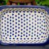 Blue Hearts Pattern Pie Dish With Rim by Ceramika Artystyczna Bolweslawiec