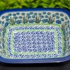 Polish Pottery Forget Me Not Small Pie Dish from Polkadot Lane UK