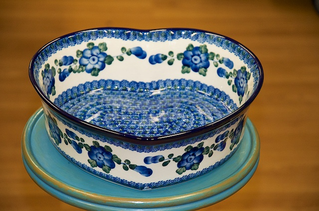 Polish Pottery Blue Flower Large Heart Dish